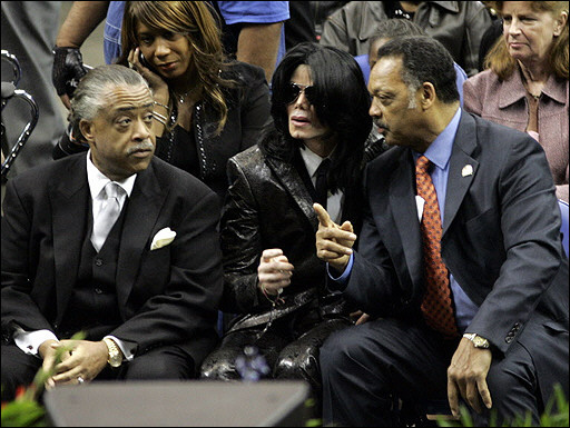 Michael Jackson with Rev Al Sharpton and Rev Jesse Jackson