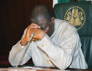 Former President Jonathan on pensive mood.