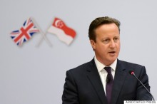 Britain's Prime Minister David Cameron speaks at the Lee Kuan Yew School of Public Policy Tuesday, July 28, 2015 in Singapore. Cameron will be in the city-state for two days as part of his tour of Southeast Asian nations including Indonesia, Malaysia and Vietnam. (AP Photo/Joseph Nair)