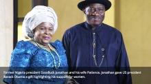 Former Nigeria president Goodluck Jonathan and his wife Patience. Jonathan gave US president Barack Obama a gift highlighting his support for women.