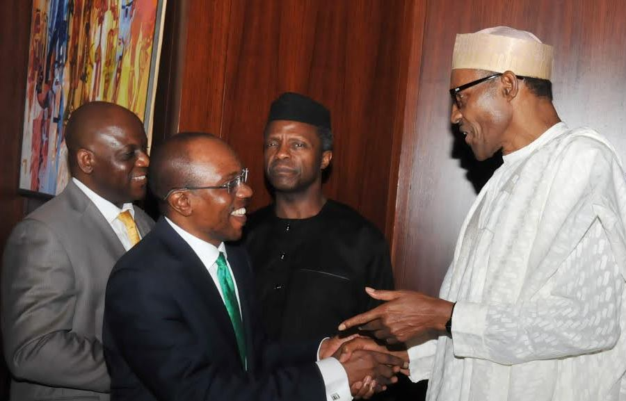 FROM LEFT: PERMANENT SECRETARY, STATE HOUSE, MR NEBOLISA EMORDI;  CBN GOVERNOR, MR GODWIN EMEFIELE; VICE-PRESIDENT YEMI OSINBAJO AND PRESIDENT MUHAMMADU BUHARI,