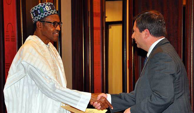 British High Commissioner to Nigeria, Mr. Paul Arkwright with President Buhari