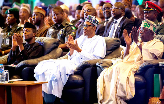 L –R , Vice President Yemi Osinbajo ; President Muhammadu Buhari with Chief Bola Ahmed Tinubu and at the 8th Bola Tinubu Colloquium held at the International Conference Centre Abuja …yesterday ( 29-03- 2016). GODWIN OMOIGUI