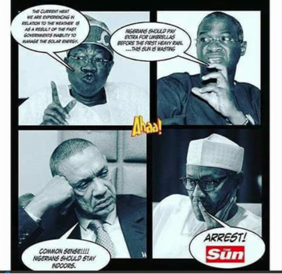 Satire Cartoon-buhari, fashola, ben-bruce-jide-salu