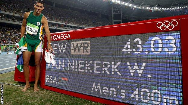 Van Niekerk comfortably beat his previous personal best of 43.48s