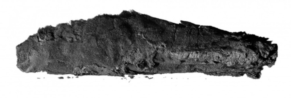 The charred scroll from En-Gedi was too fragile to open, but scientists read it anyway. (B. Seales)