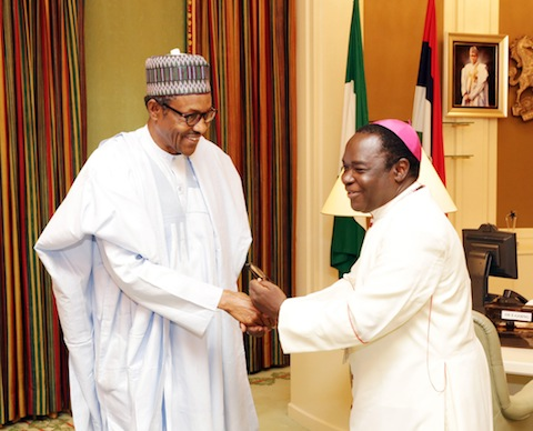 President Muhammadu Buhari receives the Catholic Bishop of Sokoto Diocese, Bishop Matthew Kukah.