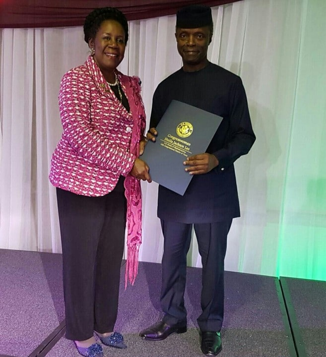 US Congress Woman Sheila Jackson Lee presented the Vice President, Prof Yemi Osinbajo with an honorary US Congressional Proclamation. He tasked Nigerians to help build the nation.