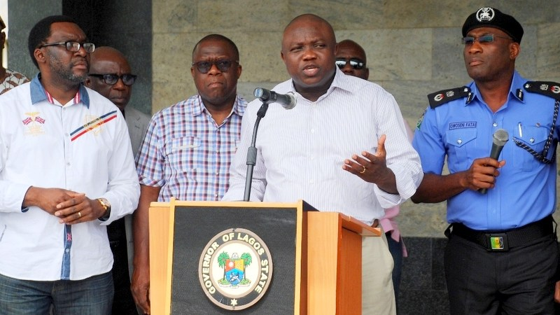 Lagos State Governor, Mr. Akinwunmi Ambode (2nd right), addressing the media on the rescue of three female students of Babington Macaulay Junior Seminary, Ikorodu at the Lagos House, Ikeja, on Sunday, March 06, 2016. (R-L) With him are Commissioner of Police, Mr. Fatai Owoseni; Attorney General & Commissioner for Justice, Mr. Adeniji Kazeem and Commissioner for Information & Strategy, Mr. Steve Ayorinde