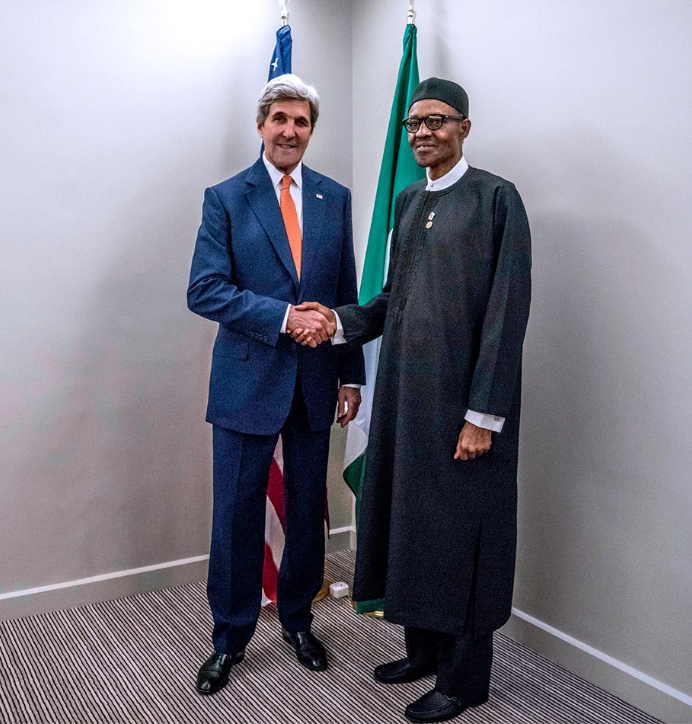 President Buhari meets with US Secretary of State John Kerry and AFDB President Akinwunmi Adesina at the sidelines of COP 22 in Marakkech Morocco.NOVEMBER 2016.