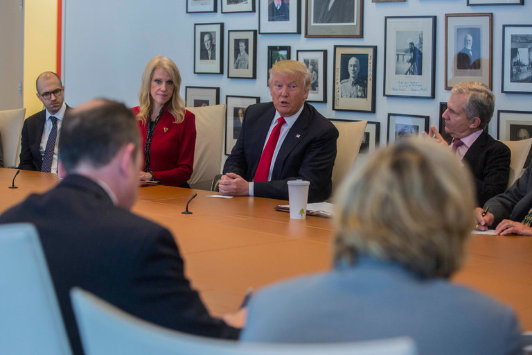 President-elect Donald J. Trump during a meeting at The New York Times's offices in Manhattan on Tuesday. Credit Hiroko Masuike/The New York Times